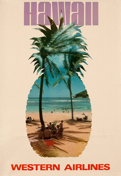Western Airlines Travel Poster, Beach scene