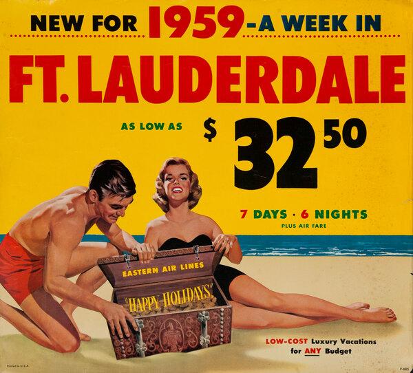 Ft Lauderdale Original Vintage Eastern Air Lines Travel Poster