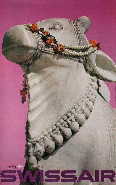 Swissair Original Vintage Travel Poster India stone horse