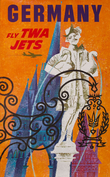 TWA Original Vintage Travel Poster Germany