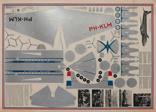 KLM Royal Dutch Airlines Model Airplane Original Travel Poster