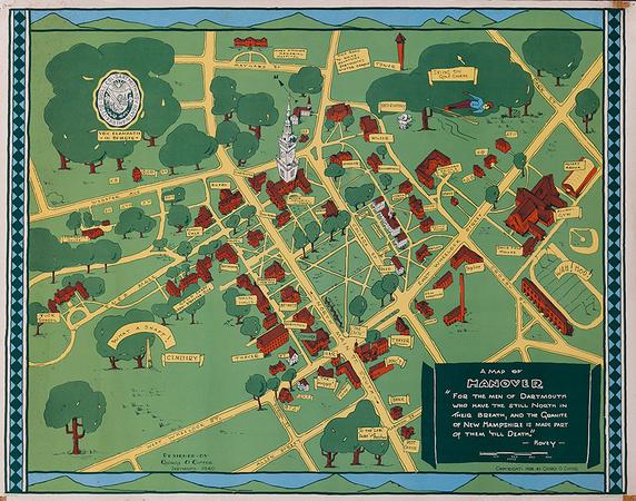 DP Vintage Posters - Original Dartmouth College Souvenir Campus Map on